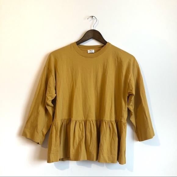 Wilfred Aritzia Ruffle Hem Flowy Shirt Top Yellow